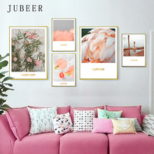 Nordic Pink ins Poster and Print Flamingo Flower Combination Photo Wall Decorative Painting Pictures on Wall For Living Room