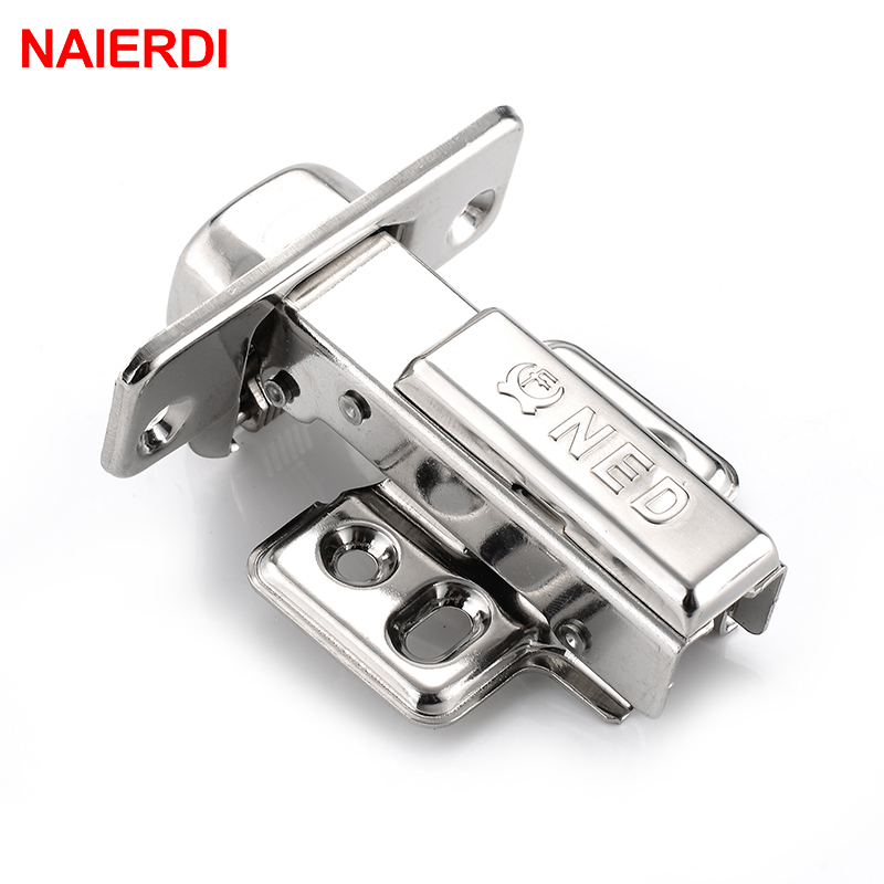 NAIERDI Full Size 304 Stainless Steel Hydraulic Hinge Pure Copper Damper Buffer Cabinet Cupboard Door Hinges Furniture Hardware in Cabinet Hinges from Home Improvement