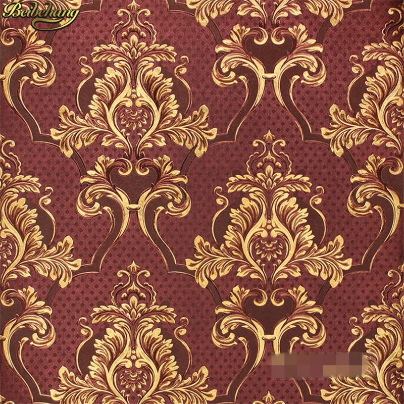 beibehang Hotel KTV European Damask Wallpaper Roll Living Room papel de parede 3D Wall Papers Home Decor contact paper sticker beibehang damascus wallpaper for living room ktv sofa background wall mural wall paper purple decor vintage papel de parede roll