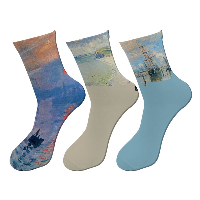 New 3d Printed Retro Painting Monet Crew Socks Men Funny Beach Waves Breaking Long Socks Strent Trend Oil Painting Tube Socks