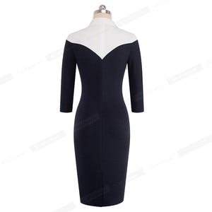 Image 2 - נחמד לנצח בציר ניגודיות צבע טלאי תורו למטה צווארון ללבוש לעבודה vestidos משרד עסקי נשים Bodycon שמלה b420