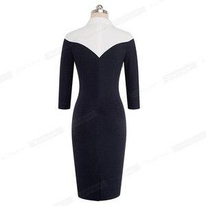 Image 2 - 素敵な永遠のヴィンテージコントラスト色パッチワークターンダウン襟着用して作業する vestidos オフィスビジネス女性ボディコンドレス b420