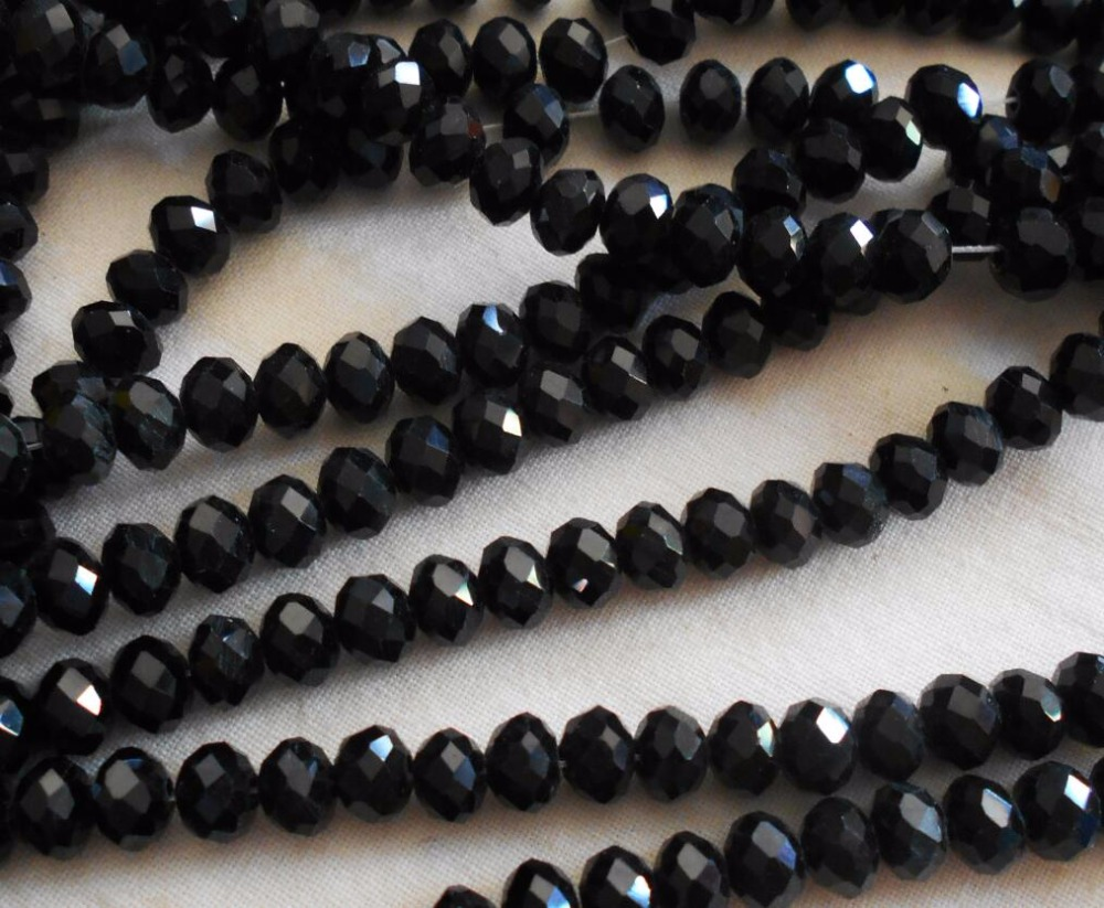 FLTMRH Black Color 3*4mm 140pcs Rondelle Austria Faceted Crystal Glass Beads Loose Spacer Round Beads For Jewelry Making(China)