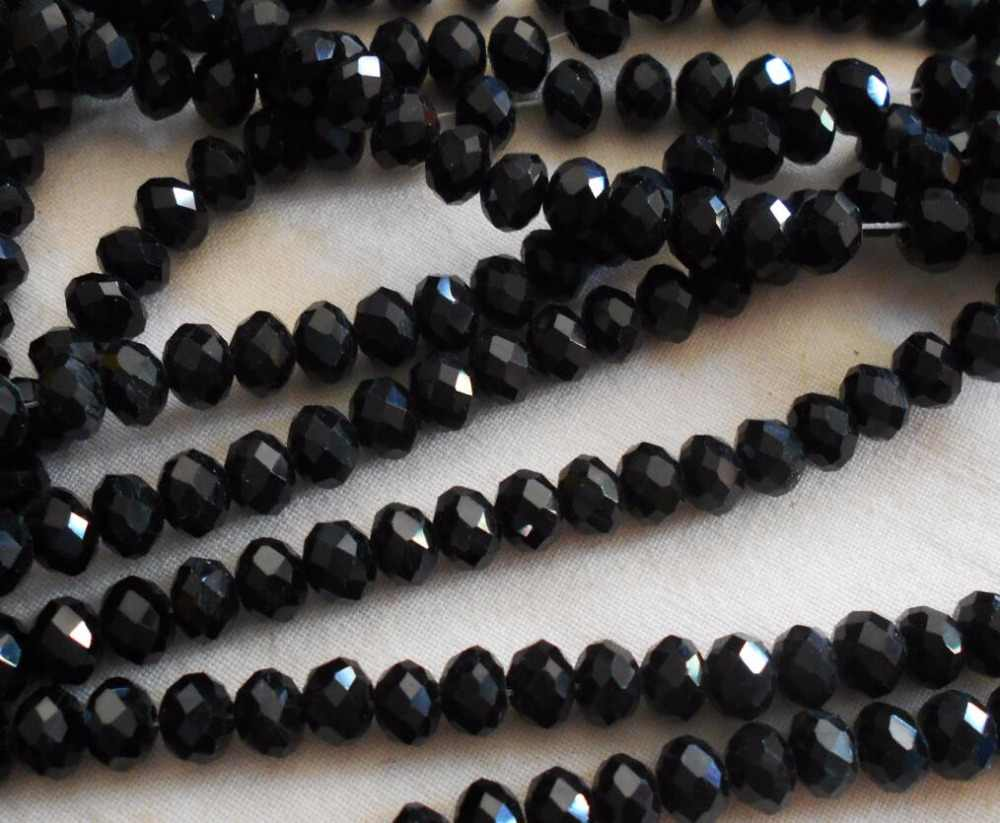 FLTMRH Black Color 3*4mm 140pcs Rondelle Austria faceted Crystal Glass Beads Loose Spacer Round Beads for Jewelry Making