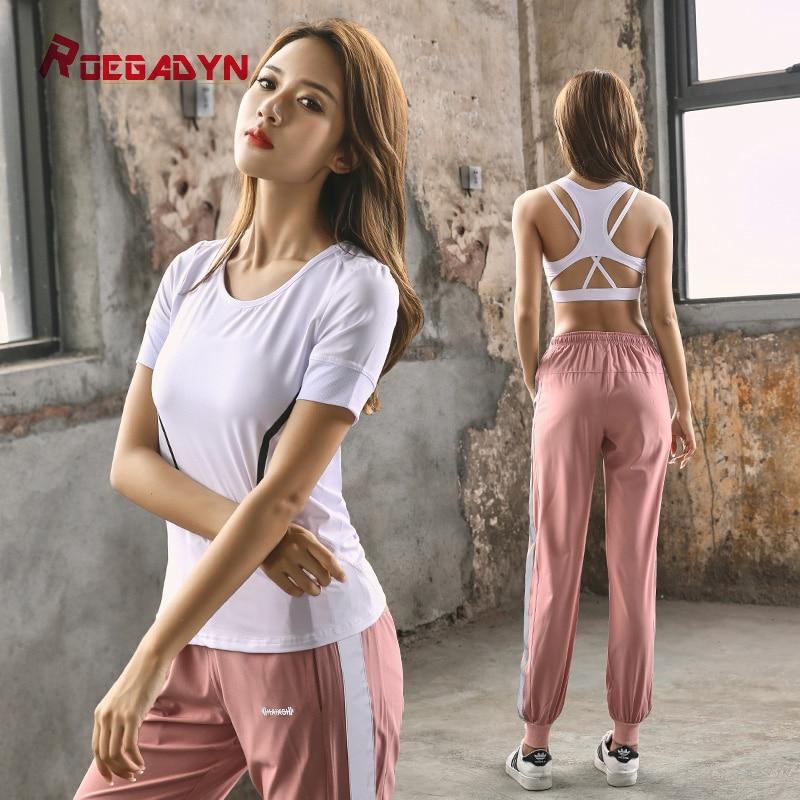 2018 Roegadyn Frauen Sportswear Anzüge Weibliche Sport Hose Fitness Gym Lauf Sets Quick Dry Gym Kleidung Anzug 3 Stücke Zu Den Ersten äHnlichen Produkten ZäHlen