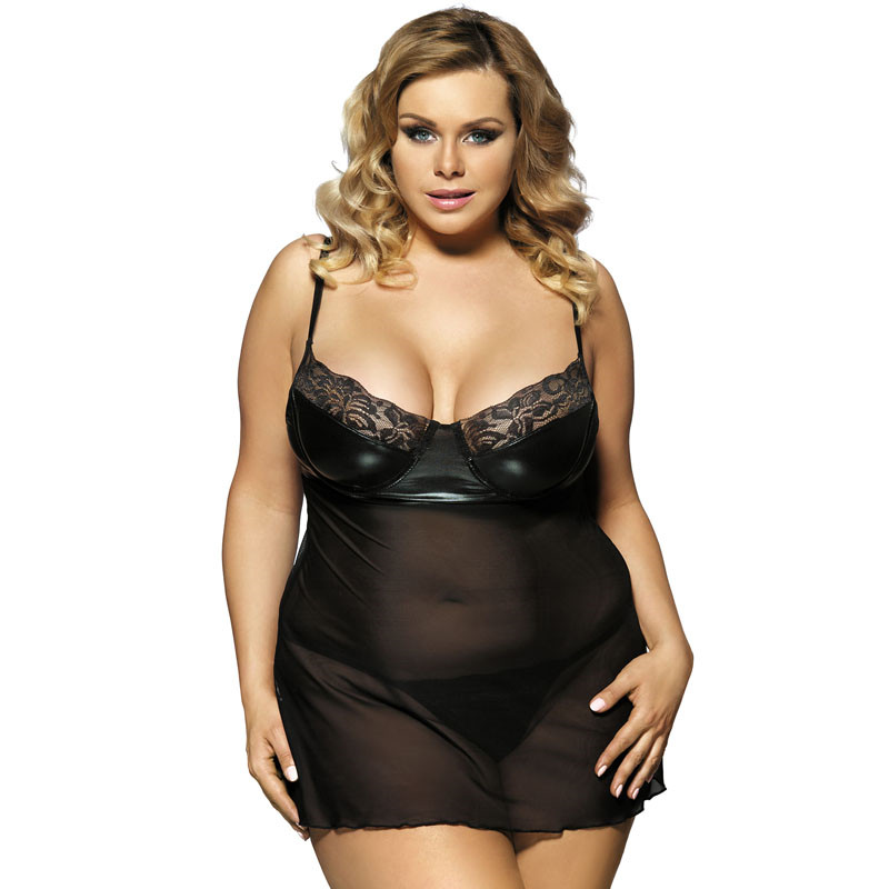 <font><b>Sexy</b></font> Underwear Plus Size Erotic Dress For Sex 3XL 5XL <font><b>7XL</b></font> Black Transparent Women Mesh Baby Doll <font><b>Sexy</b></font> <font><b>Lingerie</b></font> RS80094 image