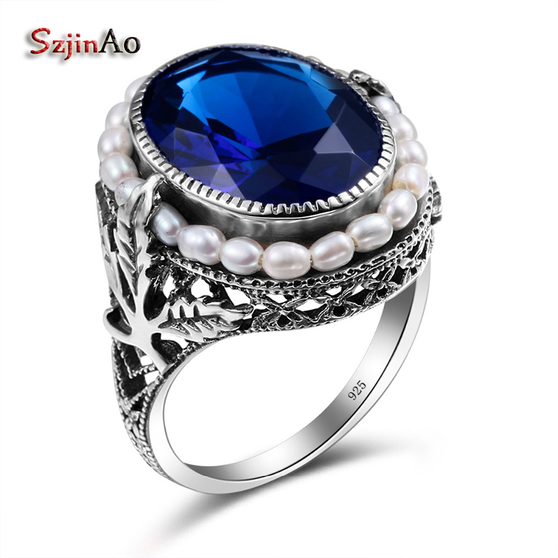 Szjinao Handmade Rose Sapphire Jewelry Natural Pearl Big Rings For Women Gift 925 sterling-silver-jewelry Wholesale szjinao custom processing exquisite luxurious rose gold color emerald rings for women wholesale christmas gift wholesale