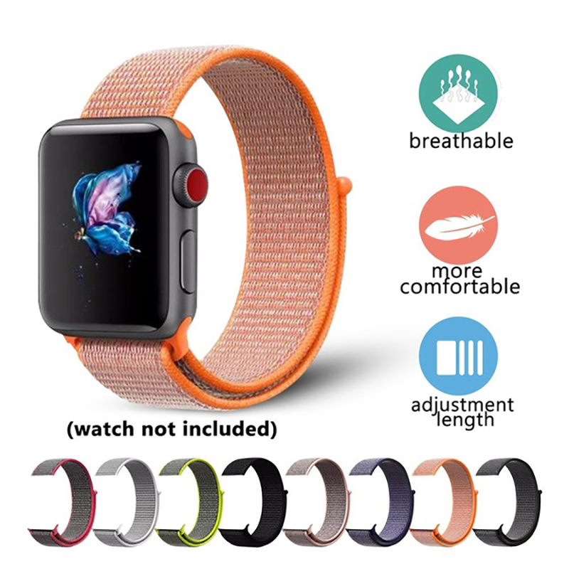 Woven Nylon Watchband For Apple Watch 4 3 2 1 Watch Band  Strap for Iwatch Breathable 38mm 42mm 44mm Sport loop