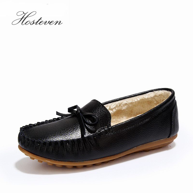 Women's Shoes Autunm Winter Fur Loafers Genuine Leather Ladies Warm Plush Driving Boat Moccasins Casual Female Solid Flats Shoe sexemara fashion handwork genuine leather real wool fur women shoes loafers peas shoes woman warm winter flats shoes