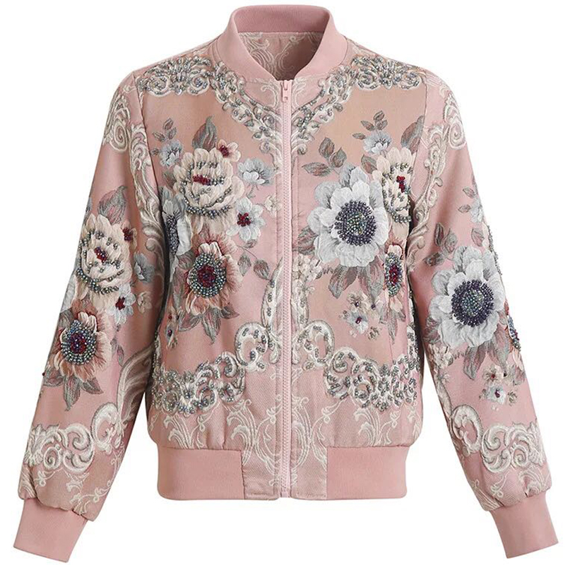 Red RoosaRosee 2019 Runway Fashion Designer Women Luxury Overcoat Floral Print Mamual Bead Diamond Elegant Short