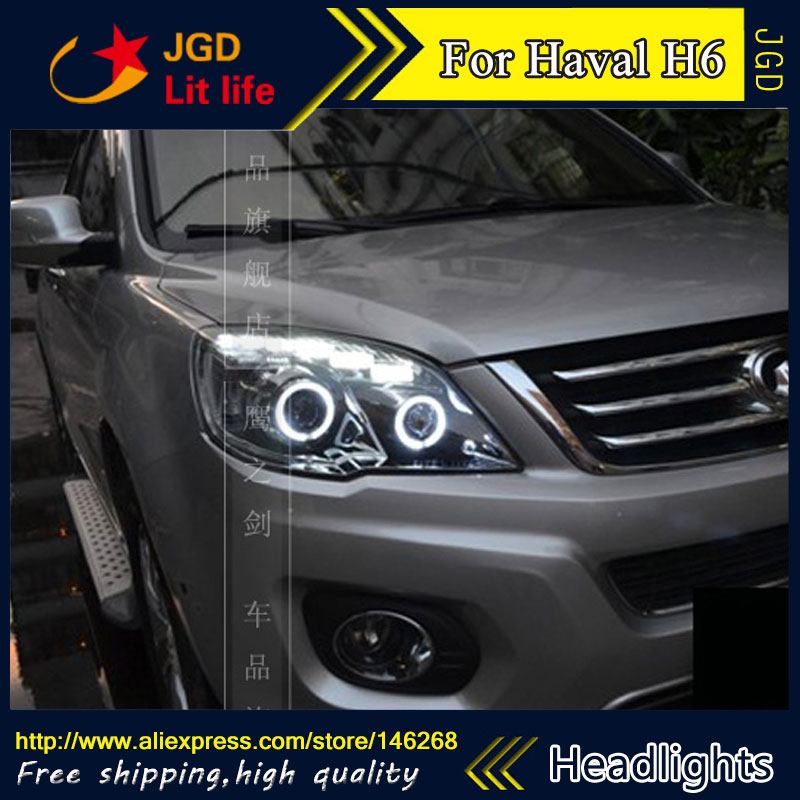 Free shipping ! Car styling LED HID Rio LED headlights Head Lamp case for Haval H6 2011 2012 2013 Bi-Xenon Lens low beam