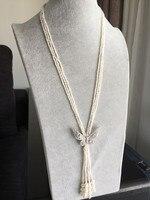 Для женщин подарок Слово 925 пробы серебро реального Тайху естественный пресноводный жемчуг цепь свитер небольшие шарики 925 серебро застежк