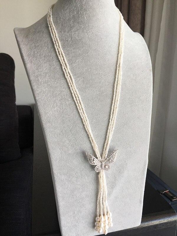 Femmes cadeau mot 925 en argent Sterling réel Taihu naturel perle d'eau douce chandail chaîne petites perles 925 fermoir en argent