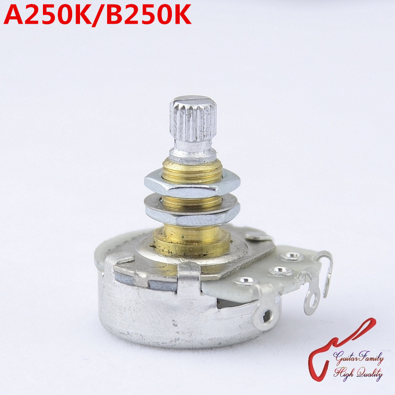 1 Piece GuitarFamily Alpha Brass Shaft A250K/B250K Big Potentiometer(POT) For Electric Guitar Bass ( #1151 ) MADE IN KOREA 1 piece guitarfamily metal knob abalone inlay for electric guitar bass made in korea 18mm 18mm 6 0mm 1254