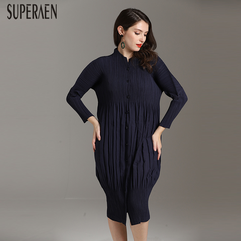 SuperAen 2019 Spring New Fashion Women Dress Solid Color Wild Casual Dress  Female Long Sleeve Europe Pleated Dress,in Dresses from Women\u0027s Clothing