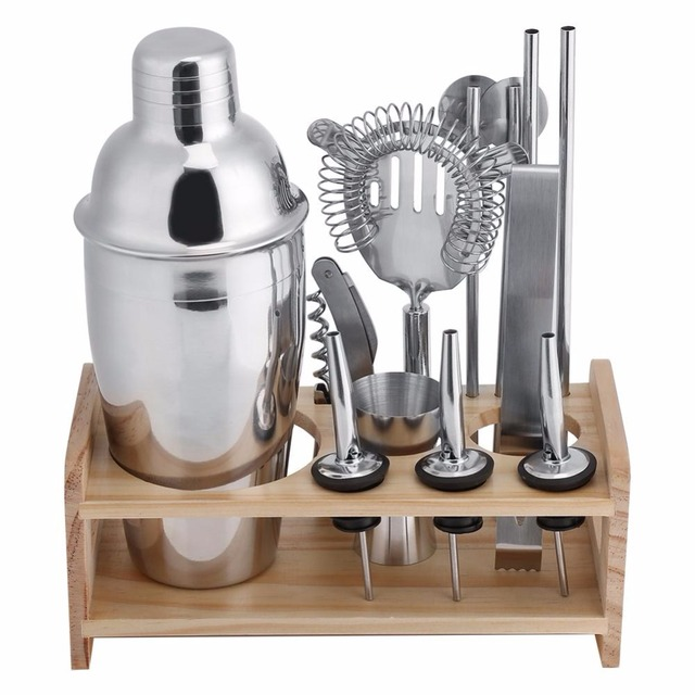 350ML Steel Cocktail Shaker Mixer Bartender Shaker Barware Set Bartender  Kit With Wine Martini Drinking Boston