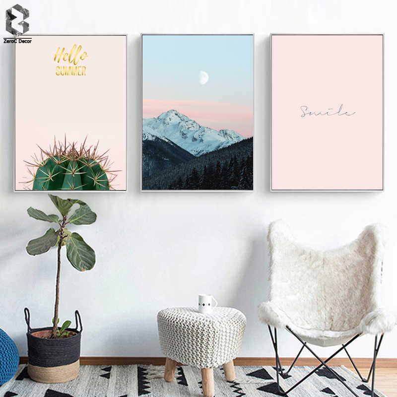 Cactus Canvas Poster Nordic Print Minimalist Motivation Quotes Wall Art Painting Landscape Scandinavian Decoration Picture Smile