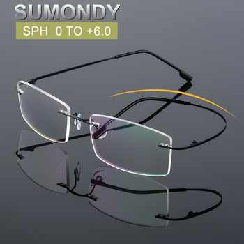 SUMONDY SPH 0 to +6.0 Rimless Reading Glasses Men Women Brand Elegant Square Frame Prescription Spectacles For Presbyopic UF40