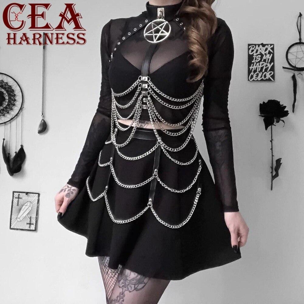 CEA.HARNESS Leather Harness Underwear 2 Piece Set Chain Bralette Top Cage Garter Belts Sexy Women Waist Dress Garter Body Belts