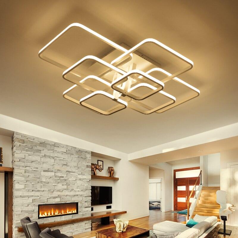 Modern Led ceiling lights for living room bedroom Square Rings AC85 265V Led Ceiling Lamp Fixtures
