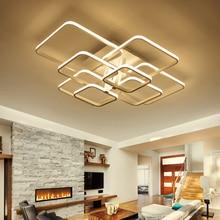 Современный светодиодный потолочный светильник для гостиной спальни Квадратные Кольца AC85-265V светодиодный потолочный светильник светильники lustre plafonnier светодиодный светильник