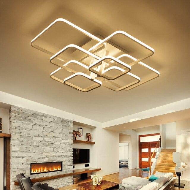 Plafonnier rectangulaire en acrylique et aluminium, plafond moderne à LEDs lumières blanches, idéal pour un salon ou une chambre à coucher, AC85 265V