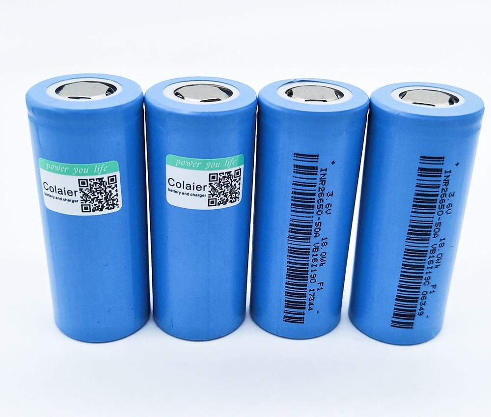 Colaier 4PCS 26650 50A 5000mah 26650 Li ion 3 7v Rechargeable Battery for Flashlight 20A