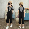 2017 new children wide leg set Child Girls Summer Dresses striped strap dress 2pcs