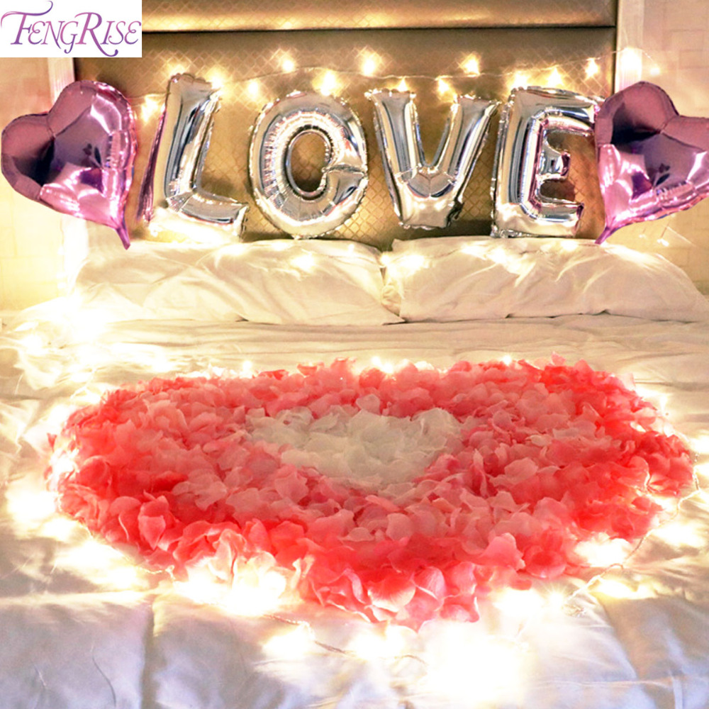 FENGRISE Bedroom Romantic Lights Diy Wedding Decoration