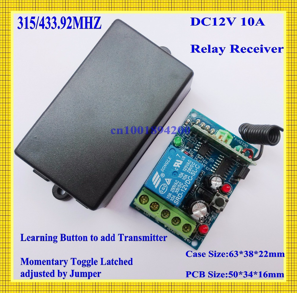 12V DC Remote Switch 10A Relay Receiver Learning Code 315/433.92 mhz RF RC Wireless Light Switch for Phone remote control ASK 315 433mhz 12v 2ch remote control light on off switch 3transmitter 1receiver momentary toggle latched with relay indicator