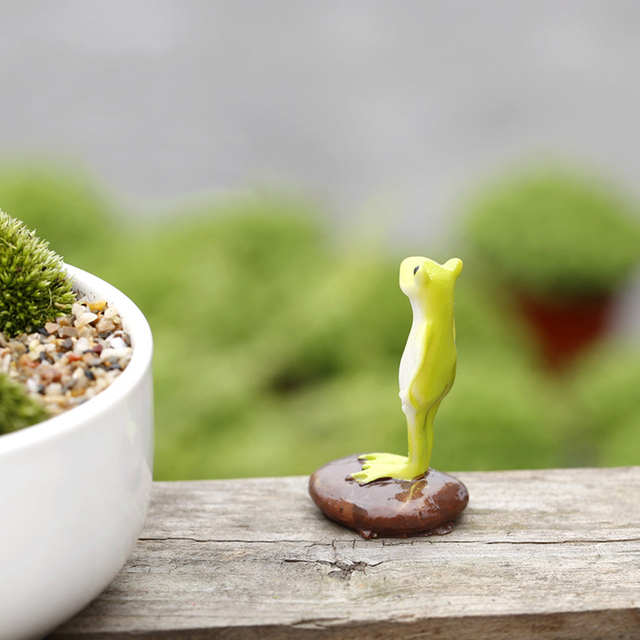 Cute Animal Frog Home Micro Fairy Garden Gnomes Figurines Kawaii Miniatures/terrarium Dollhouse Decor Ornaments DIY Accessories 2
