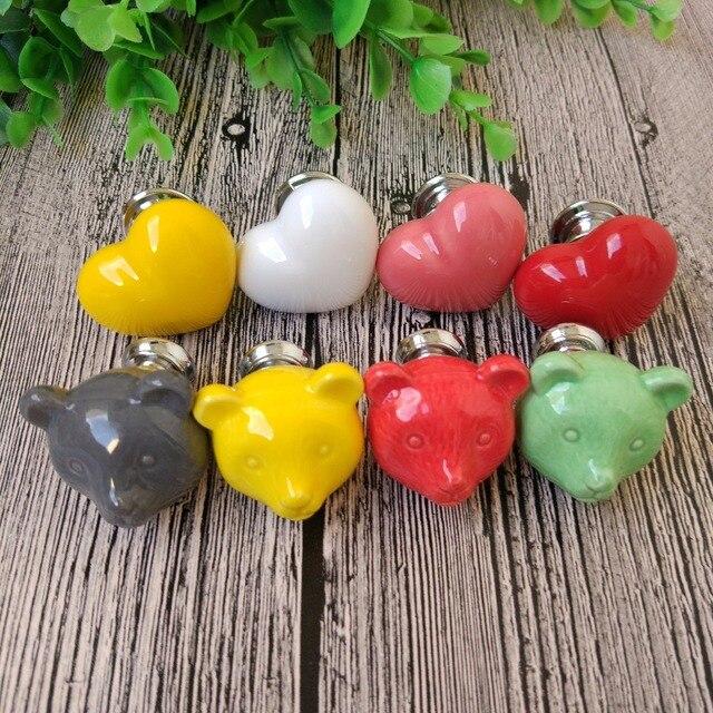 6pcs Ceramic Heart Bear Colorful Cartoon Cute Cabinet Knob Childrenu0027s  Drawer Pull Handle Ceramic Knobs Cabinet