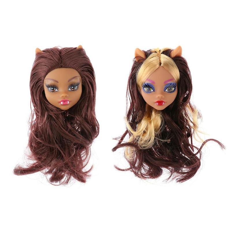 Children Toy Monster Long Hair Doll Head Plastics DIY Doll Accessories