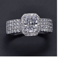 Luxury 1carat Princess Cut halo shaped sona dia mond wedding rings for women engagement bands rings