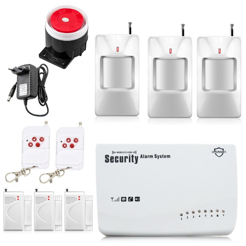 Free Shipping Wireless GSM Alarm System Security Home Alarm English Voice with PIR detector SMS Call Remote Control Setting цена