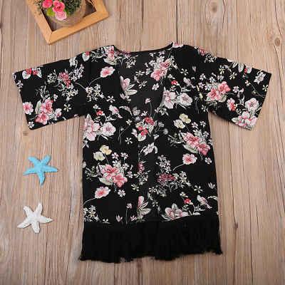 Kind Kids Peuter Meisje Lange Mouwen Tassel Kimono Outfit Vest Cover Sunsuit Trui voor Meisjes