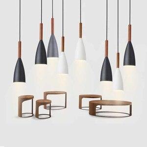 Image 4 - Minimalistische Moderne Houten Hanger Lampen Bar Restaurant Hanglamp Decor E27 Nordic Hanglampen Art Mode Opknoping Lamp