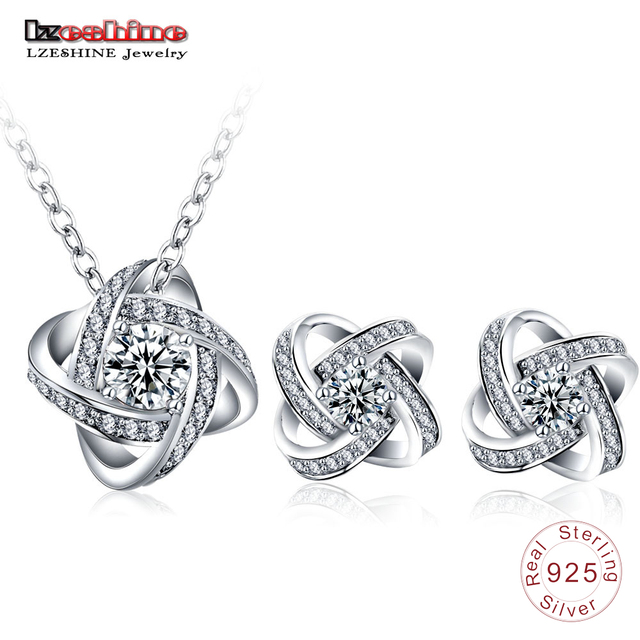 LZESHINE Trendy Jewelry Sets Real 925 Sterling Silver Pendants Necklaces /Earrings Stud Engagement Women Jewelry Sets SST0002-B