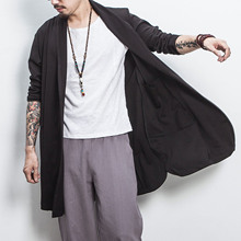 Autumn Cardigan Mens Long Chinese Style Vintage Loose Large Size M-5XL Male Solid Color Black Gray Jacket Sleeve