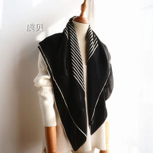 High quality natural pure silk satin scarf black white striped printed shawl wom