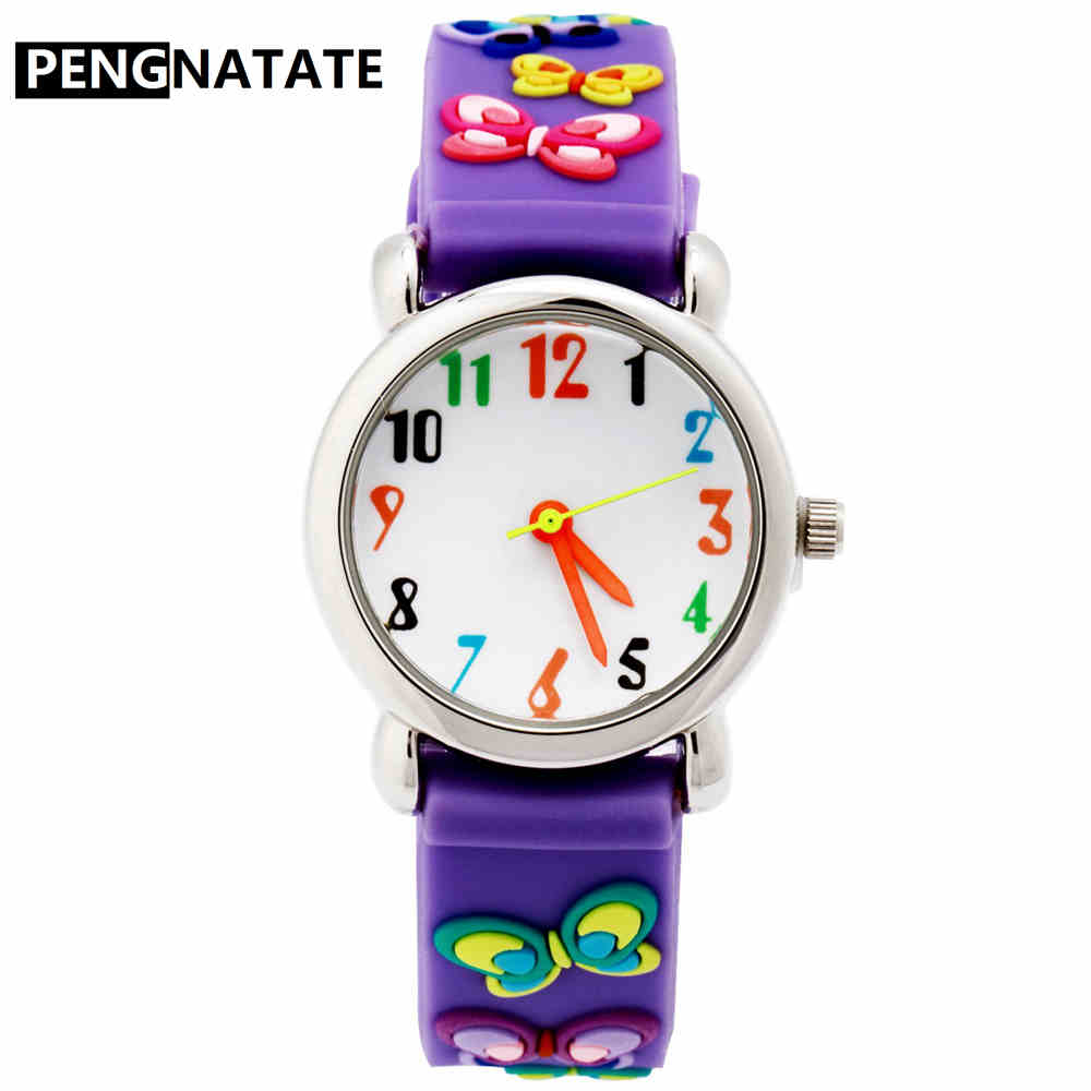 PENGNATATE Children Watches Fashion Girls Purple 3D Butterfly Strap Cartoon Watch Kids Cute Gift Silicone Bracelet Wristwatches disney kids watch children watches princess elsa crown snow genuine brand fashion cute wristwatches leather strap gift clock