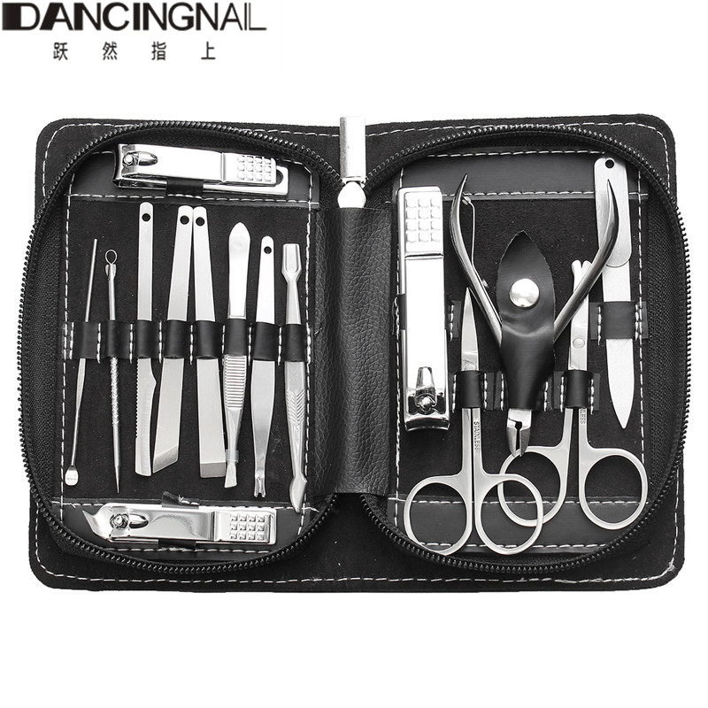 professional Manicure Set Nail Clippers Set Grooming Kit 15 in 1