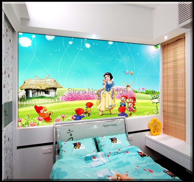 Us 153 49 Offcustom Baby Wallpaper Snow White And The Seven Dwarfs Bedroom For The Childrens Room Mural Backdrop Stereoscopic 3d In Wallpapers