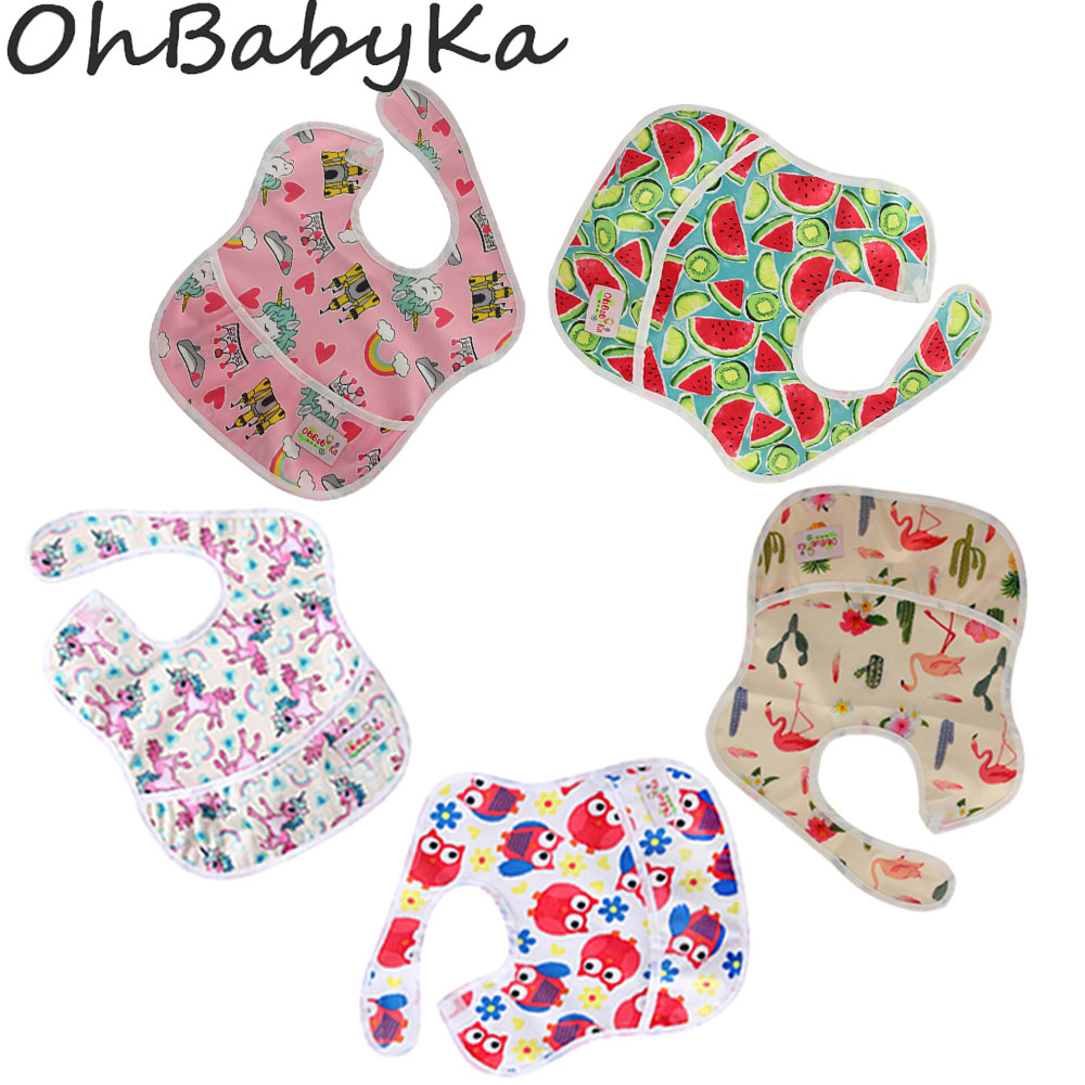 Ohbabyka 5PCS/Pack Baby Bibs with Pocket Unicorn Reusable Baby Shower Gifts for Baby Gir ...