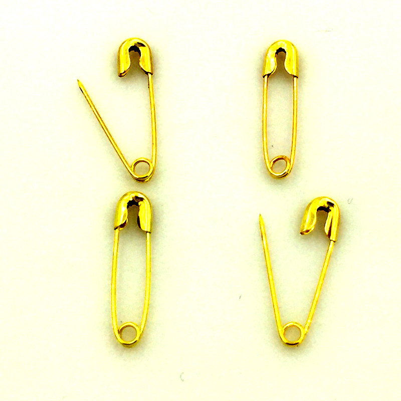 500Pcs Gold Plated Metal Safety Pins Brooches Crafts Sewing Findings 19x4.5mm