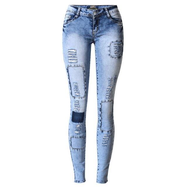 Тощий Blue Jeans девушку Отверстия Джинсы Для Женщин Жан Тонкий Pantalones Vaqueros Mujer Femme Женские Джинсы Упругие Лоскутное 2017