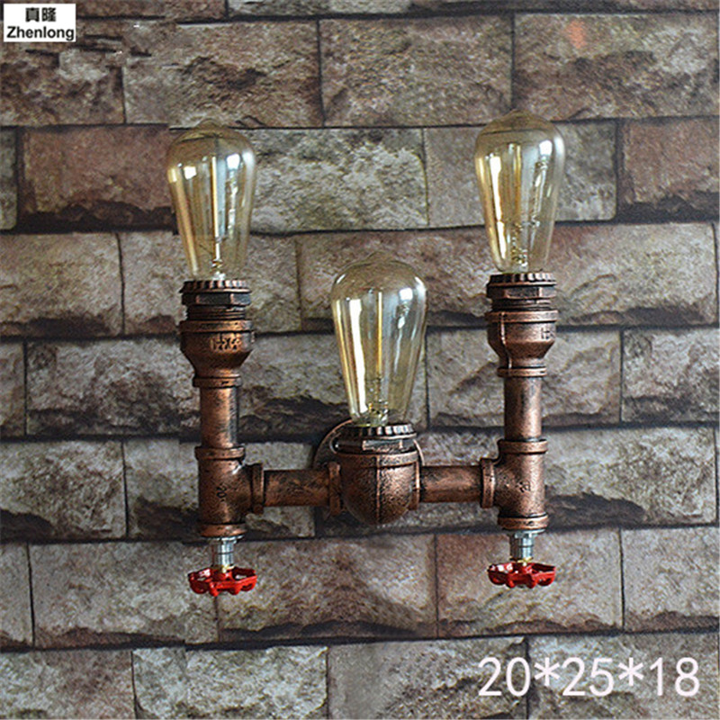 Steam Punk Loft Industrial Iron Rust Water Pipe Retro Wall Lamp Vintage E27 Sconce Lights House Lighting Fixtures Bar Decorative in Wall Lamps from Lights Lighting