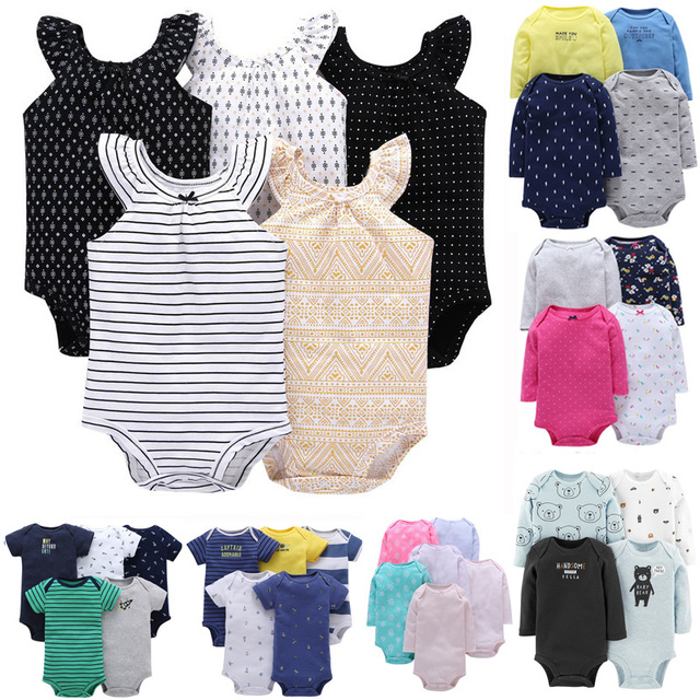b5a7250c7 Baby Boys and Girls soft Cotton Bodysuit Clothing Set Long Sleeve and Short  Sleeve Bodysuit pack