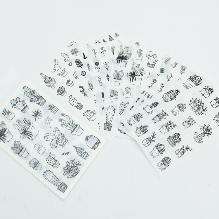 6 Pcs/pack Love Travel Food Cactus Plant Decorative Stationery Stickers Scrapbooking DIY Diary Album Stick Lable