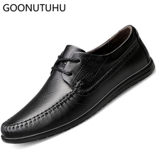 2019 new style men's shoes casual genuine leather cow lace up shoe man big size classic brown black flat shoes for men hot sale stylesowner korean style new arrival flat single shoes cow leather lace up shallow pink solid color casual sweet female shoes